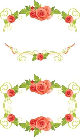 Marcos ornamentales con las rosas en flor Vectores