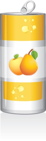 Aluminum can with fruit juice isolated on the white