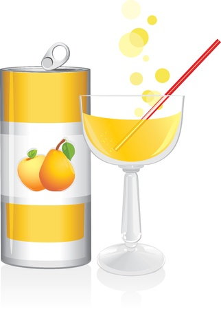 Aluminum drink can and wine glass with fruit juice Stock Vector - 14272783