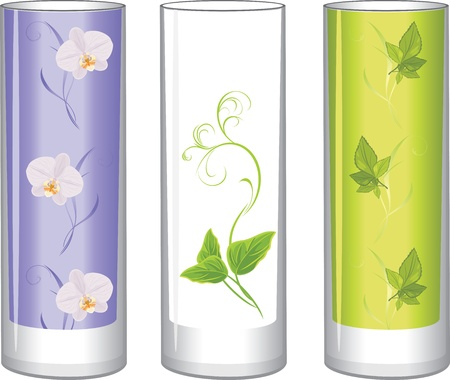Three glass vases Vector