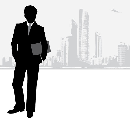 Silhouette of a businessman on the cityscape background Stock Vector - 14296982