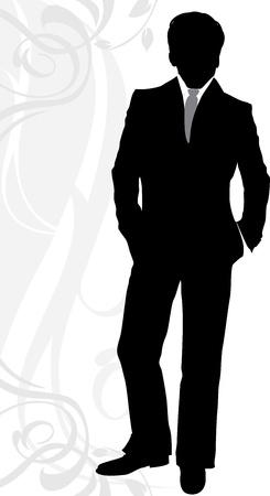 Silhouette di un uomo d'affari in abito classico Vettoriali