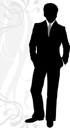 lapel: Silhouette of a businessman in classical suit