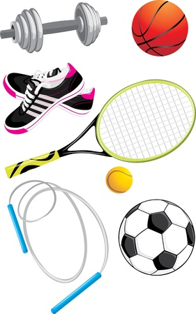 skip: Sports objects isolated on the white