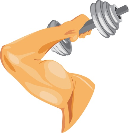 elbows: Masculine hand with dumbbell Illustration