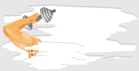 toning: Masculine hand with dumbbell. Sport banner
