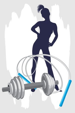 girl fitness: Female silhouette and dumbbell with jumping rope