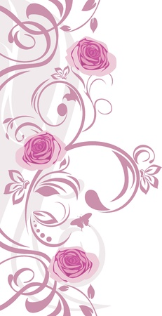 Ornamental border with pink roses Vector