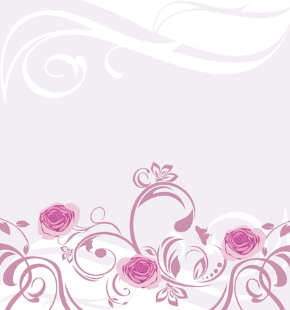 Ornamental background with pink roses Vector