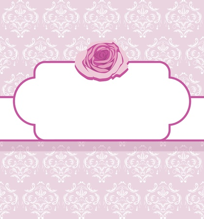 Ornamental frame with pink rose Illustration