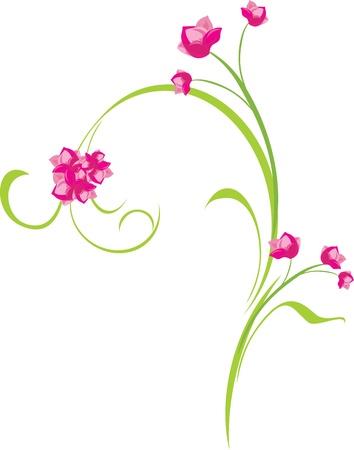 a sprig: Ramita de Ornamentales de color rosa con flores