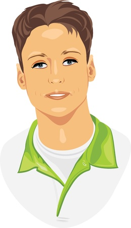 male hair model: Portrait of a young trendy man Illustration