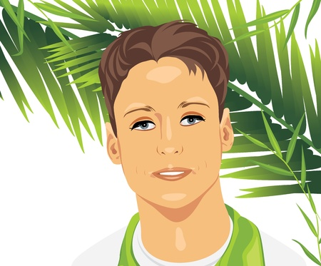 attractive: Portrait of a young man among palm branches Illustration
