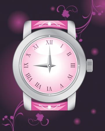 fashion jewelry: Female elegant watch on the dark background Illustration