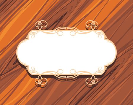 plywood: Decorative frame on the wooden background