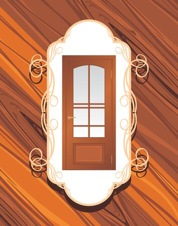 auburn: Manufacture of doors  Decorative label on the wooden background