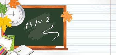 Blackboard and school accessories. Back to school Vector