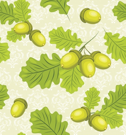 Oak branch with acorns on the decorative background Vector