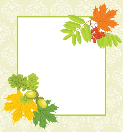 Decorative frame with acorns, rowan and maple leaves Vector