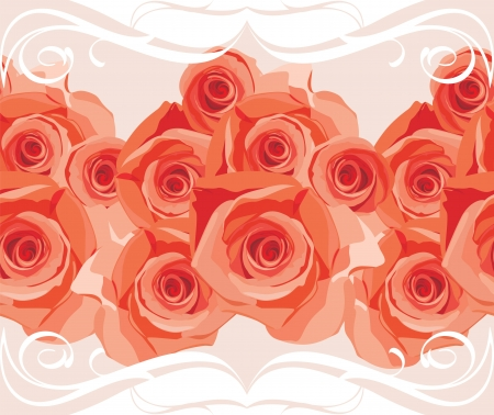 Ornamental border with blooming roses Vector