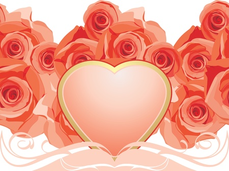 Pink heart with blooming roses Vector