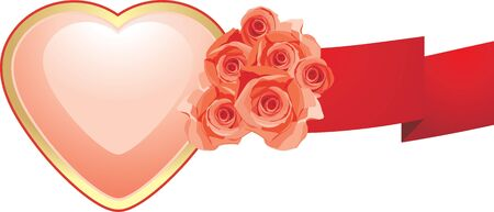 Pink heart with roses and red ribbon Vector
