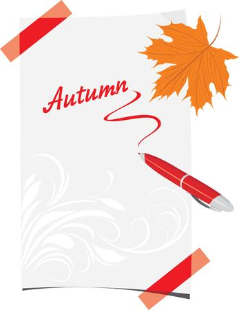 Curled paper sheet with ballpoint and maple leaf Stock Vector - 14837914