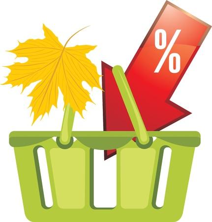 Shopping basket  Seasonal discounts Stock Vector - 15203203