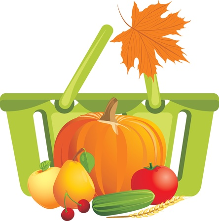 Shopping basket with fruits and vegetables Stock Vector - 15203204