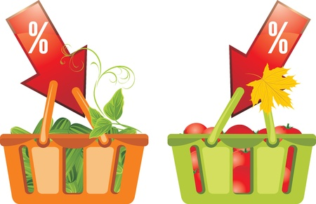 Shopping baskets with cucumbers and tomatoes Vector