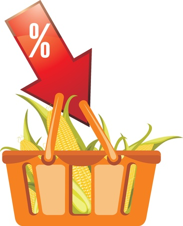 Shopping basket with corncobs Stock Vector - 15203209