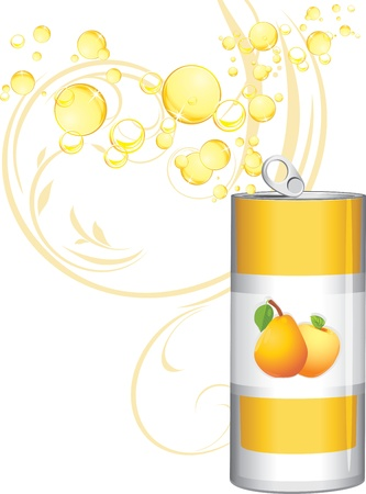 Opened aluminum can with fruit lemonade Stock Vector - 15486877