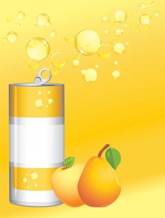 Aluminum can with fruit lemonade Stock Vector - 15486874