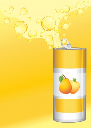 Opened aluminum can with fruit lemonade on the yellow background Vector