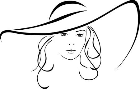 모자: 우아한 모자에서 아름 다운 여자의 실루엣
