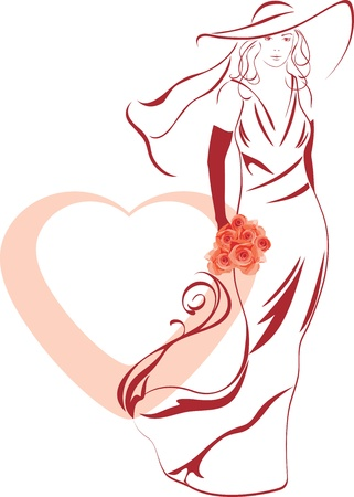Silhouette of a elegant bride with bouquet in hand Vectores