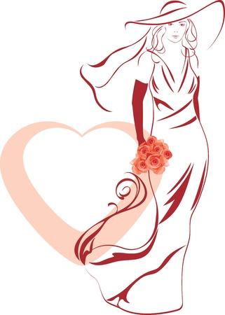 Silueta de una novia elegante con el ramo en la mano Vectores