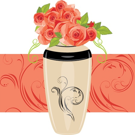 Pink roses in the ceramic vase Stock Vector - 15495660