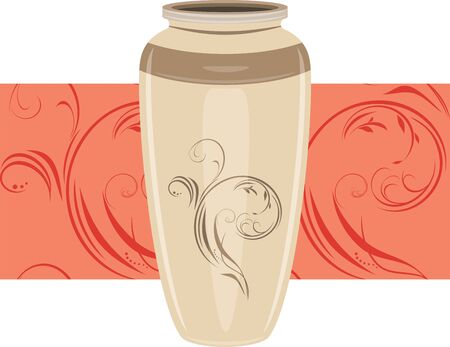 Ceramic vase on the ornamental border Stock Vector - 15495658