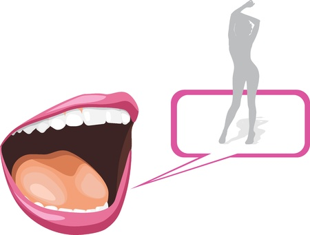 girl mouth open: Open mouth and silhouette of a dancing girl
