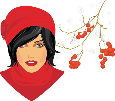 Brunette in a red knitted cap with rowan branch in the snow Vector