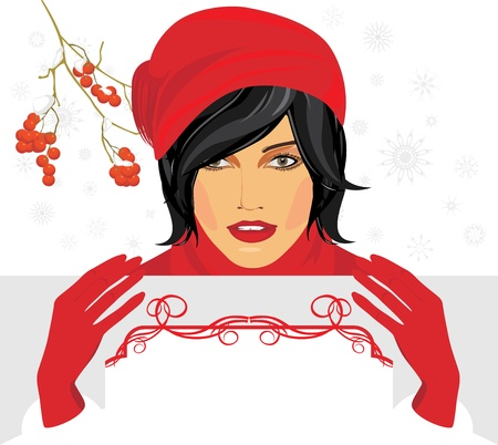 Brunette in a red knitted cap with greeting banner in hands Illustration