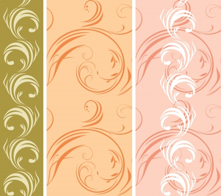 Three ornamental patterns for borders Vector