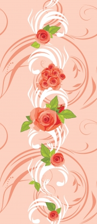Ornamental pink border with blooming roses Vector