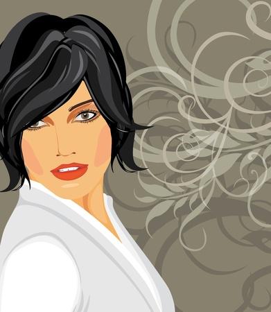 white blouse: Retrato de morena en una blusa blanca en el fondo decorativo Vectores