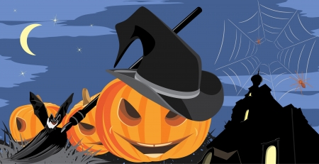 Halloween pumpkins, bat and spiders on the background of castle Vector