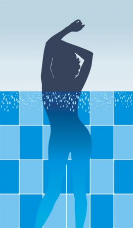 Female silhouette in pool Vector