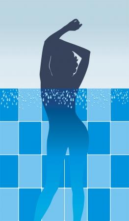 girls bathing: Female silhouette in pool