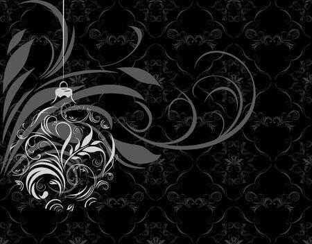 Ornamental Christmas ball on the black background Stock Vector - 16024229