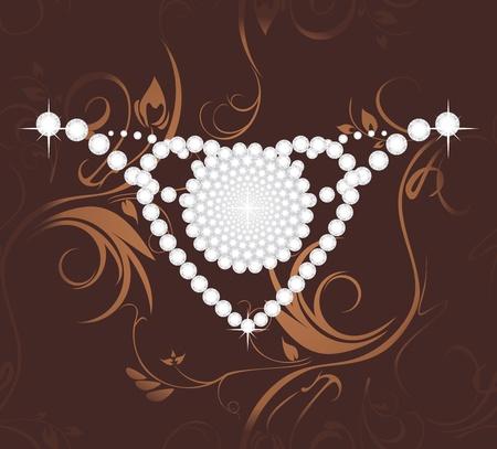 diamond clip art: Shining diamond heart on the dark brown ornamental background Illustration